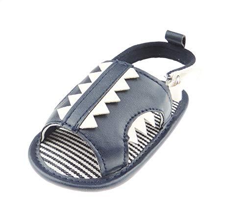 Glamour Girlz Sandales d'été avec dents de requin - Bleu marine - 12 à 6 mois