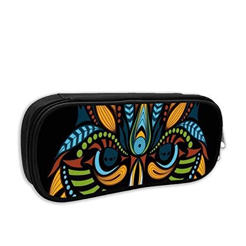 IOPLK Estuche para lápices de escuela de moda, patrón vintage con estampado de búho de cabeza de color en manualidades, negro, étnico, verde, africano, americano, bolsa de bolígrafo, bolsa de papelerí