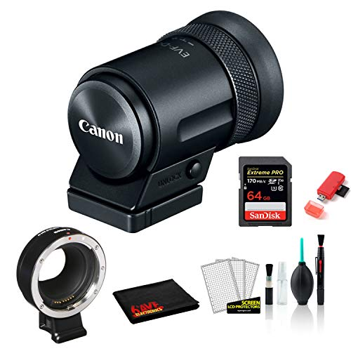 Canon EVF-DC2 Electronic Viewfinder (Black) 1727C001 Bundled with Lens Adapter Kit for Canon EF/EF-S Lenses + 64GB Memory Card + More