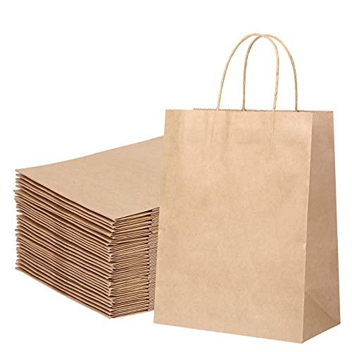 30X Bolsas de Papel con Asas Bolsas Papel Marrones Bolsas Papel Kraft Bolsas Papel Regalo para la Tienda de Comestibles para Hornear Compras Minoristas Boutique, 27x21x11cm