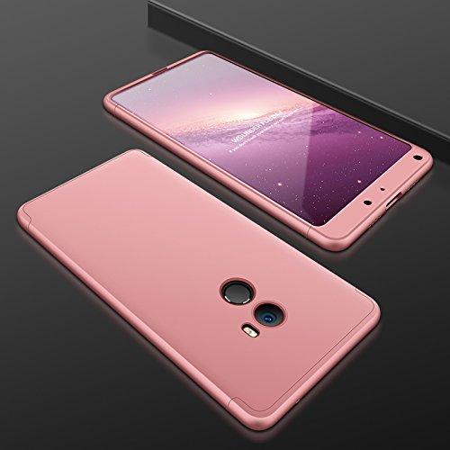 TiHen Funda para Xiaomi Mi Mix 2 Funda 360 Grados Todo Incluido protección + 2 Piezas Cristal Templado, Luxury 3 in 1 PC Hard Skin Carcasa Case Cover para Xiaomi Mi Mix 2(Rose Oro)