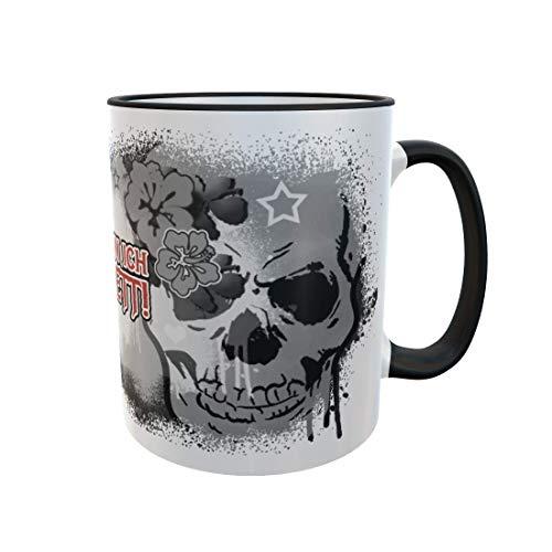 Fördeblau Tasse mit Totenkopf und Spruch in wählbaren Varianten bedruckt | Skull Becher in Schwarz-weiß mit rotem Text | Toller Geschenkbecher als Geschenkidee für Heavy-Metal und Gothic-Fans