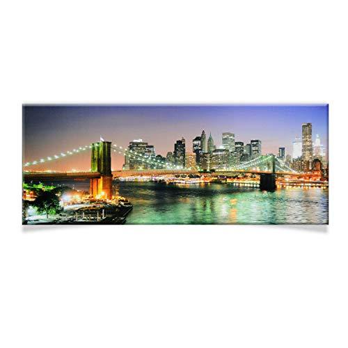 DRULINE LED Wandbild | Leinwand | Bild | Beleuchtet | Batteriebetrieben | Fotografie | Indoor | Skyline | Keilrahmen | 100 x 40 x 2 cm