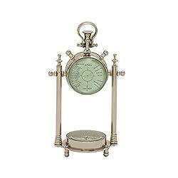 Deco 79 Smart Aluminum Glass Table Clock/Compass Aluminium Compss 6 W, 11 H-24541, 6 x 11