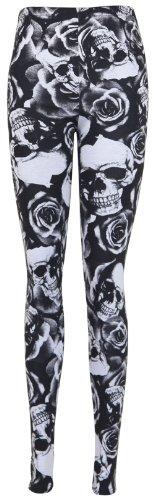 Top Fashion Damen Leggings mit Totenkopf und Rosen Print schwarz weiß - Plus Size - Gr. 44/46