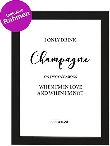 PICSonPAPER Poster DIN A4 I ONLY Drink Champagne, gerahmt mit schwarzem Bilderrahmen, Geschenk, Geschenkidee, Geburtstagsgeschenk, Poster mit Rahmen, Kunstdruck, Typographie (Champagne)