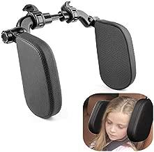 Xergur Car Seat Headrest Pillow, Memory Foam Neck Support Pillow Road Pal Headrest for Kids and Passenger, Adjustable on Both Sides - Sleep Better on Long Trips (Black)