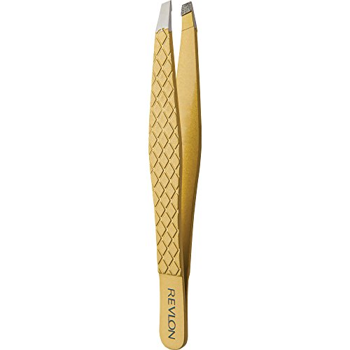 Revlon Gold Series Slant Tip Tweezer, Tips Coated with Diamond Particles for Maximum Gripping Power