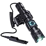 Tactical LED Torch Flashlight with Picatinny Rail Mount, USB Chargeable, Super Bright 1200 Lumens, 300m Beam Distance, Premium Aluminium Alloy, Waterproof, Rust-Resistant
