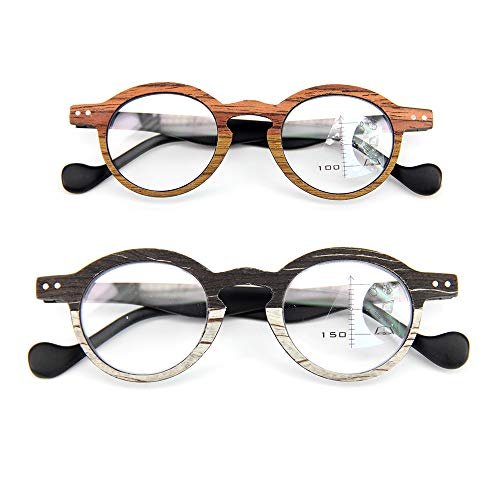 2er Pack Holz-Look-Lesebrille Progressive Multifocal-Brille Lesegruppe Glasse Presbyopie-Brille Anti-Müdigkeit Blendschutz UV-Blocking Fashion Imitation Wood,2.5