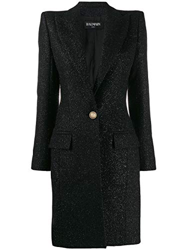 Balmain Luxury Fashion Damen SF18539W0380PA Schwarz Wolle Mantel | Herbst Winter 19