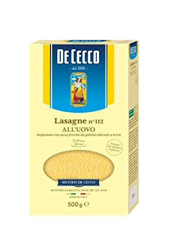 5x Pasta De Cecco 100% Italienisch Lasagne all'uovo n. 112 Nudeln mit ei 500g