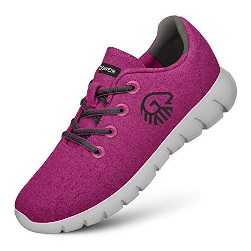 GIESSWEIN Merino Runners Women - Atmungsaktive Sneaker aus Merino Wool 3D Stretch, Leichte Damen Freizeit Schuhe mit Wechsel-Fußbett