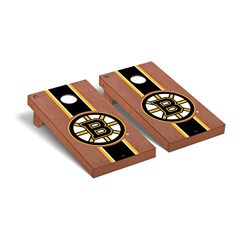 Victory Tailgate NHL Regulation Cornhole Game Set - Rosewood Stained Stripe Version - Boston Bruins