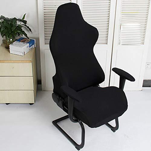Cleme Fundas para sillas Asientos para computadora Spandex Moderno Sillones elásticos extraíbles Decoración Protector poliéster Lavable Office Soft Gaming(Negro)
