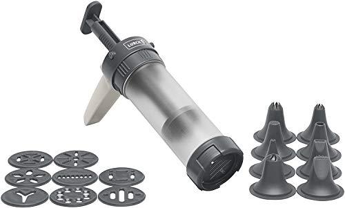 Lurch 70245 Gebäckpresse aus Kunststoff mit 9 Motivscheiben und 8 Tüllen, Iron Grey/Weiß, Ø 11,5