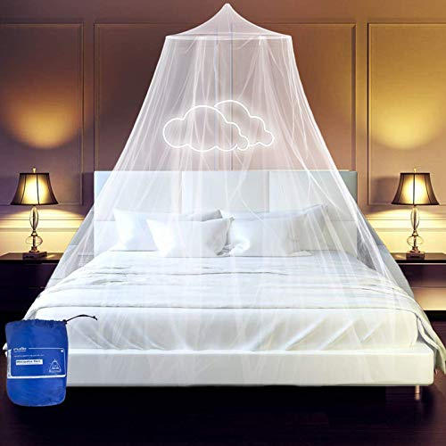 esafio Mosquito Net for Bed Large White Bed Canopy for Girls Hanging Bed Net for Single to King Size Beds Hammocks Cribs Easy Installation Ideal for Bedroom Decorative, Travel with Storage Bag