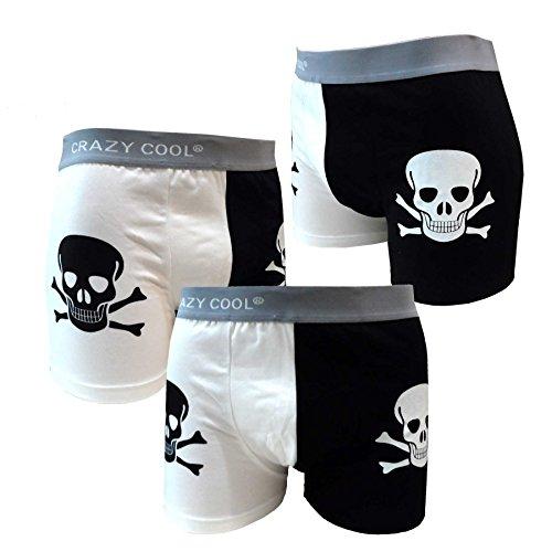 Crazy Cool Cotton Boxer Briefs Underwear for Men 3-Pack, Skull, Dots, Plain (Medium, Skull)