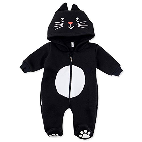 Baby Sweets Baby Tier-Strampler Unisex schwarz im Motiv: Katze/Baby-Overall als Tierstrampler mit Kapuze für Neugeborene & Kleinkinder in der Größe 1 Monat (56)