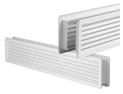 Türlüftungsgitter - Lüftungsgitter -Türluftgitter - Türgitter - weiß - doppelseitig blickdicht- 400 x 130 mm - aus hochwertigem ASA-Kunststoff - Bad, Küche zum Nachrüsten
