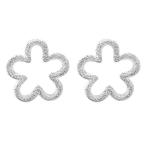 Elibeauty S925 Silvery Hollow Flower Stud Earrings, Elegant Accessories For Women Statement Birthday Gifts(SILVER)
