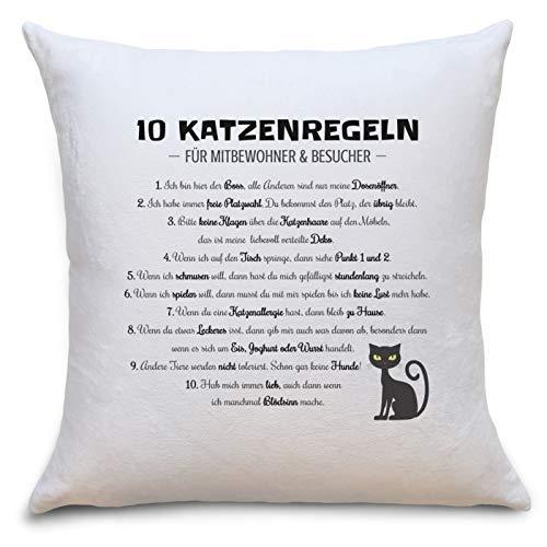 Katzenregeln Flauschige Kissenhülle mit Katzen Motiv Geschenke Geschenkideen für Katzen-Liebhaber zum Geburtstag