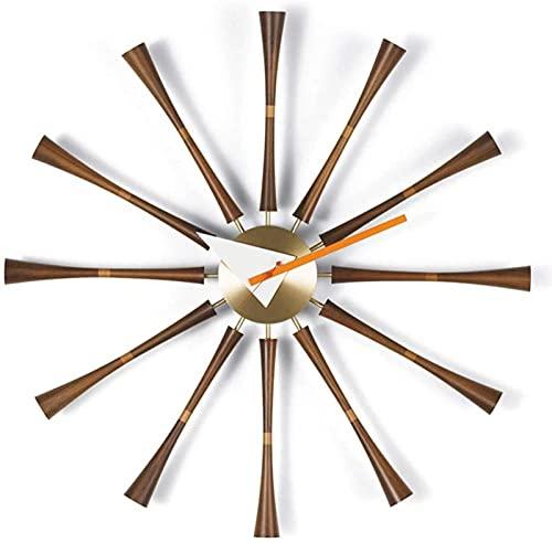 TEPET Reloj de Pared con Forma de Eje de Madera Maciza, Reloj de Pared con Eje, Relojes clásicos, Relojes, Sala de Estar, Restaurante, Dormitorio, Pared de Metal de Nogal