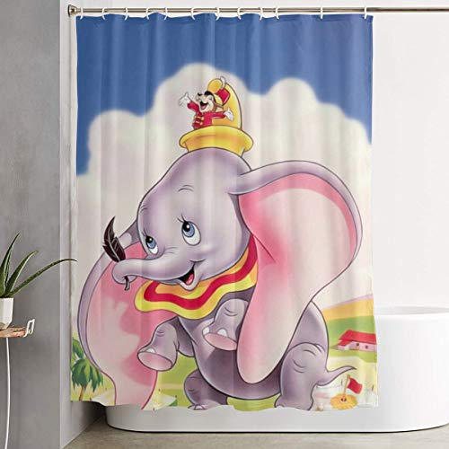 Funny Fabric Shower Curtain Dumbo Waterproof Bathroom Decor with Hooks 60 X 72 Inch