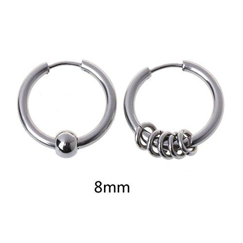 Xuebai 8 mm-20 mm Titanio Acero círculo aro Pendiente cartílago hélice Piercing Pendientes Plata