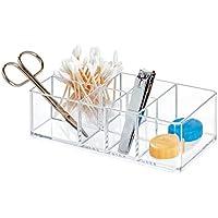 iDesign Caja botiquín para el baño o el armario, pequeña caja para medicinas de plástico con 7 compartimentos, organizador de medicamentos fácil de limpiar, transparente