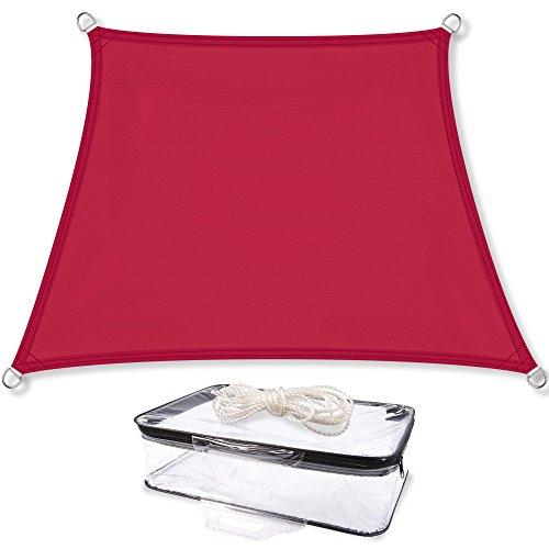 CelinaSun Sonnensegel inkl Befestigungsseile PES Polyester wasserabweisend imprägniert Trapez 4 x 5 x 3 x 3 m rot