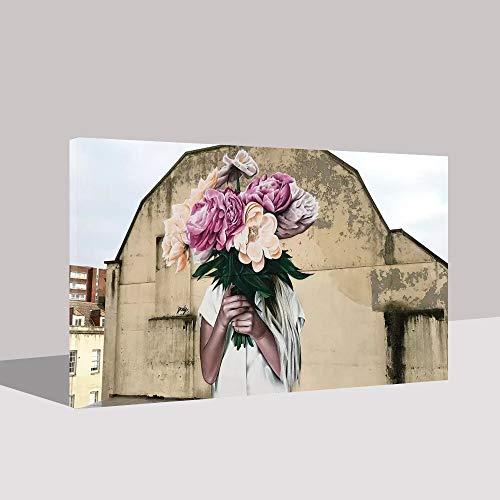 Puzzle 1000 Piezas Arte Dama Flor Imagen Abstracta Fresca Hermosa Pintura Pintura Decorativa Puzzle 1000 Piezas clementoni Juego de Habilidad para Toda la Familia, Colorido ju50x75cm(20x30inch)