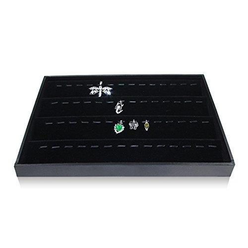 Organizador de joyas BOCAR, de terciopelo negro, para collares, pulseras y pendientes