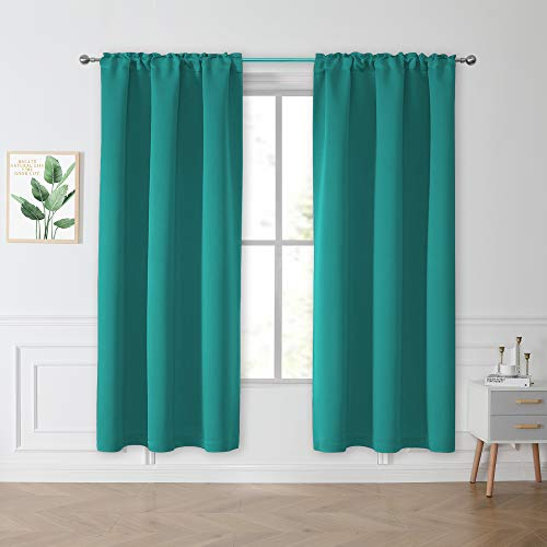 Teal Blue Country Curtains Blackout Drapes for Farmhouse Cabin Dining Sitting Room Bedroom - Rod Pocket Light Block Privacy Wall Draperies Panels, Set of 2, 42 by 72 Inch Length