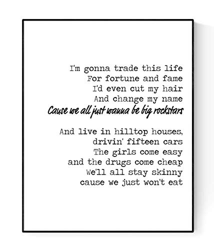 Rock Star Lyrics Poster | Nickelback | Music Art Print (16x20)