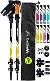 TrailBuddy Lightweight Trekking Poles - 2-pc Pack Adjustable Hiking or Walking Sticks - Strong Aircraft Aluminum - Quick Adjust Flip-Lock - Cork Grip, Padded Strap (Bumblebee Yellow)