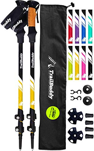 TrailBuddy Lightweight Trekking Poles - 2-pc Pack Adjustable Hiking or Walking Sticks - Strong Aircraft Aluminum - Quick Adjust Flip-Lock - Cork Grip, Padded Strap - (Bumblebee Yellow)