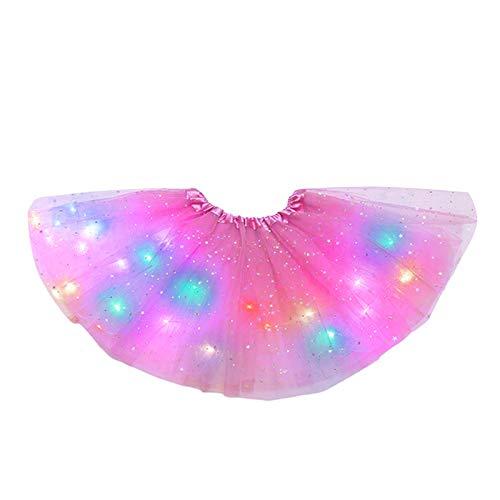 Hifot Falda Tutú para Niñas con Luz LED, Vestido Lentejuelas Tutu Ballet niña, Vestido Corto de Baile Colorido Princesa para Fiestas de Navidad