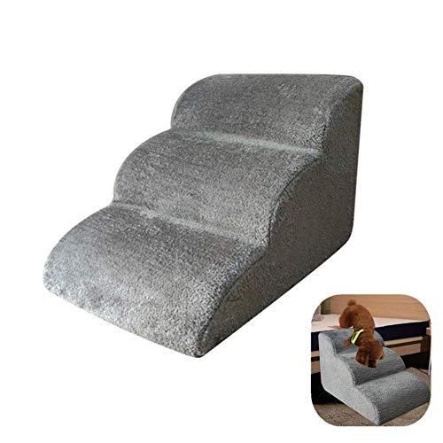 NAKELUCY Hundetreppen/Treppen für hohe Betten, rutschfestes und atmungsaktives Flanell 3 Stufen Leiter Haustiertreppe für Schlafsofa, leicht und tragbar für Hunde und Katzen, 60x42x39 cm (Grey)