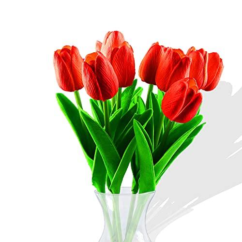 Fiore Artificiale Fiore Finto, Bouquet di Tulipani per la Decorazione Della Casa,Tulipano Materiale in Lattice Vero Matrimonio Stanza Famiglia Alberghi Festa DIY Decorazione,10 Pezzib