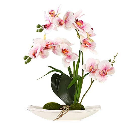 ENCOFT Kunstblumen orchideen Kunstpflanze Künstliche Blumen aus Eva Wohndeko Kunstbulme mit Übertopf Garten Balkon Wohnzimmer Hochzeit(37cm, Pink 2)
