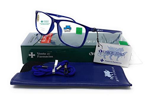 Gafas de lectura con filtro bloqueo de luz azul para gaming, ordenador, móvil. Anti fatiga professional ULTRALIGERAS y resistentes tr90 unisex venice (Azul con bloqueo de luz azul, +1.50)