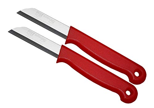 Schwertkrone Schälmesser Set Solingen - 2 Obstmesser Gemüsemesser Floristenmesser Bandstahl rostfrei (rot 2-Stück)
