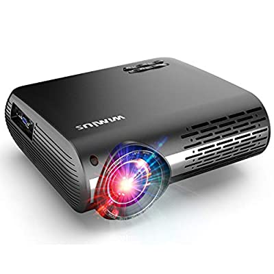 WiMiUS Upgrade 6100 Lumens Projector Native 1920x1080 Video Projector Support 4K Dolby Netflix 300'' Display, with 4D ±50°X & Y Keystone Correction, Zoom Function for Movies and PPT Presentation