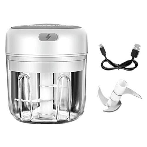 basku Mini Elektrisch Zerkleinerer, 100ML Zerkleinerer Küche Elektrisch Zwiebelhacker, Multi-zerkleinerer Hackfleisch Maschine USB-Lade-Gemüsemixer, Fleisch, Obst (Weiß)