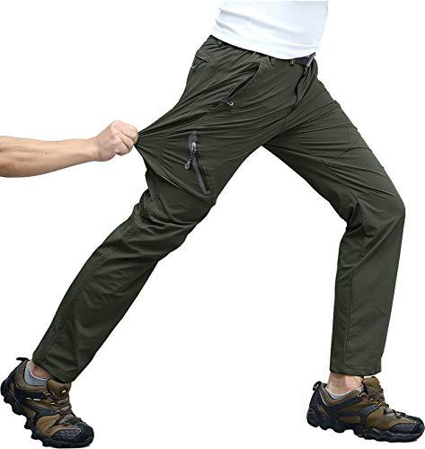 Pantalon de randonnée KEFITEVD - Pour homme - Stretch - Séchage rapide - Respirant - Taille élastique - Pantalon de randonnée - Vert - W32