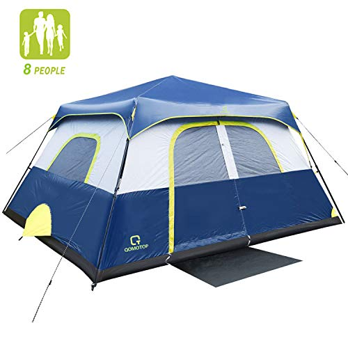 QOMOTOP Camping Tent, 8 Person Instant Set Up Within 1 Minute Tent Equipped with Rainfly and Carry Bag, Water-Proof Tent Electric Cord Access, Cabin Style Tent