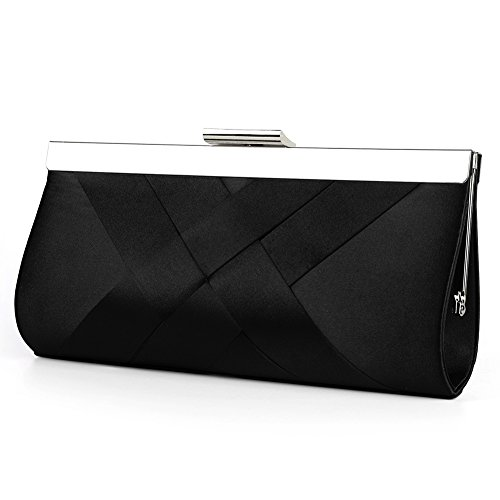 Bidear Satin Evening Bag Clutch, Party Purse, Wedding Handbag with Chain Strap for Women Girl (Black)