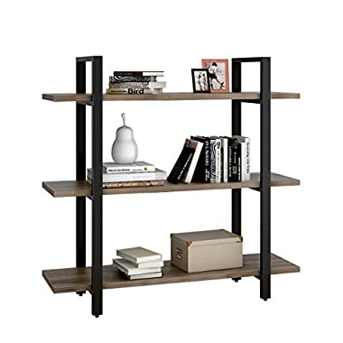 WLIVE 3-Tier Shelves and Bookcase in Rustic Industrial Style, Free Standing Storage Shelf Units (3-Tier)