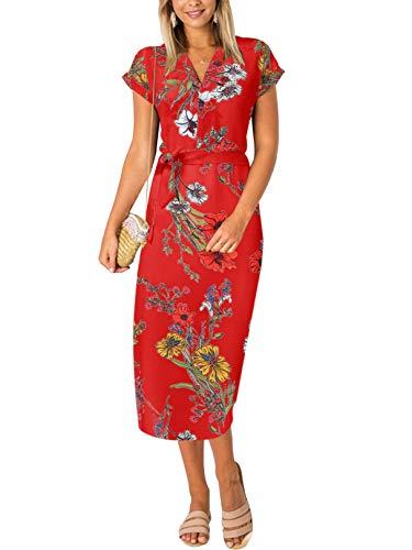 YOINS Sommerkleid Damen Lang V-Ausschnitt Maxikleider für Damen Kleider Strandkleid Strandmode Rot XXL